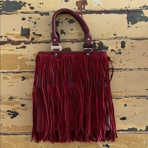 Handbags - 💥HOBO BAG💥 burgundy leather boho bag